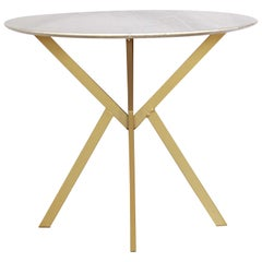 1960s vintage Dining Table with round Carrara marble top