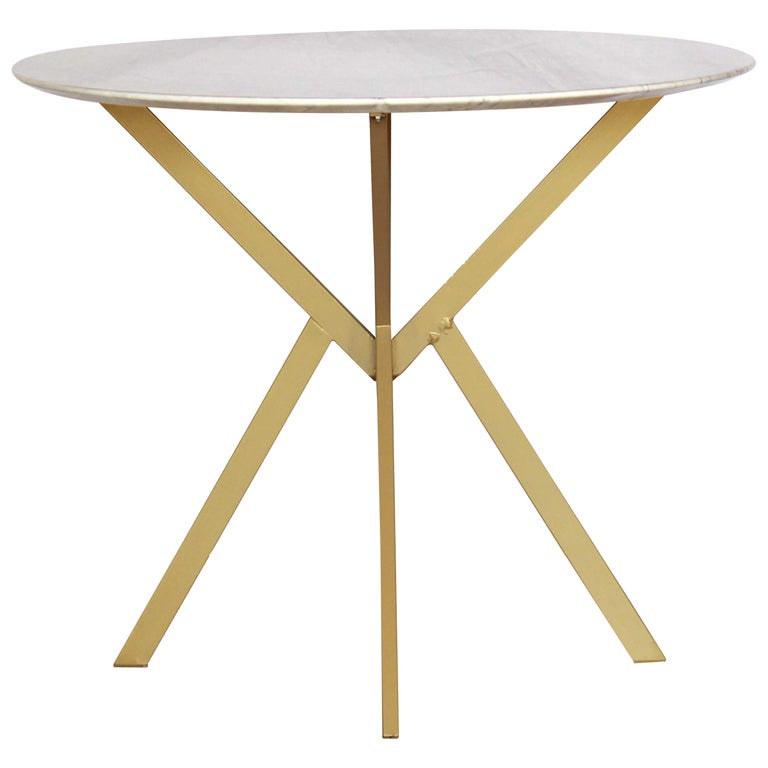 1960s vintage Dining Table with round Carrara marble top For Sale