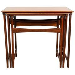 1960s Midcentury Scandinavian Danish B.C. Mobler Teak Set of 3 Nesting Tables