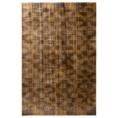 1960s Midcentury Vintage Art Deco Rug, Brown Orange Geometric Distressed Wool