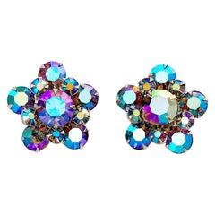 1960s Midnight Blue Aurora Borealis Crystal Rhinestone Floral Cluster Earrings