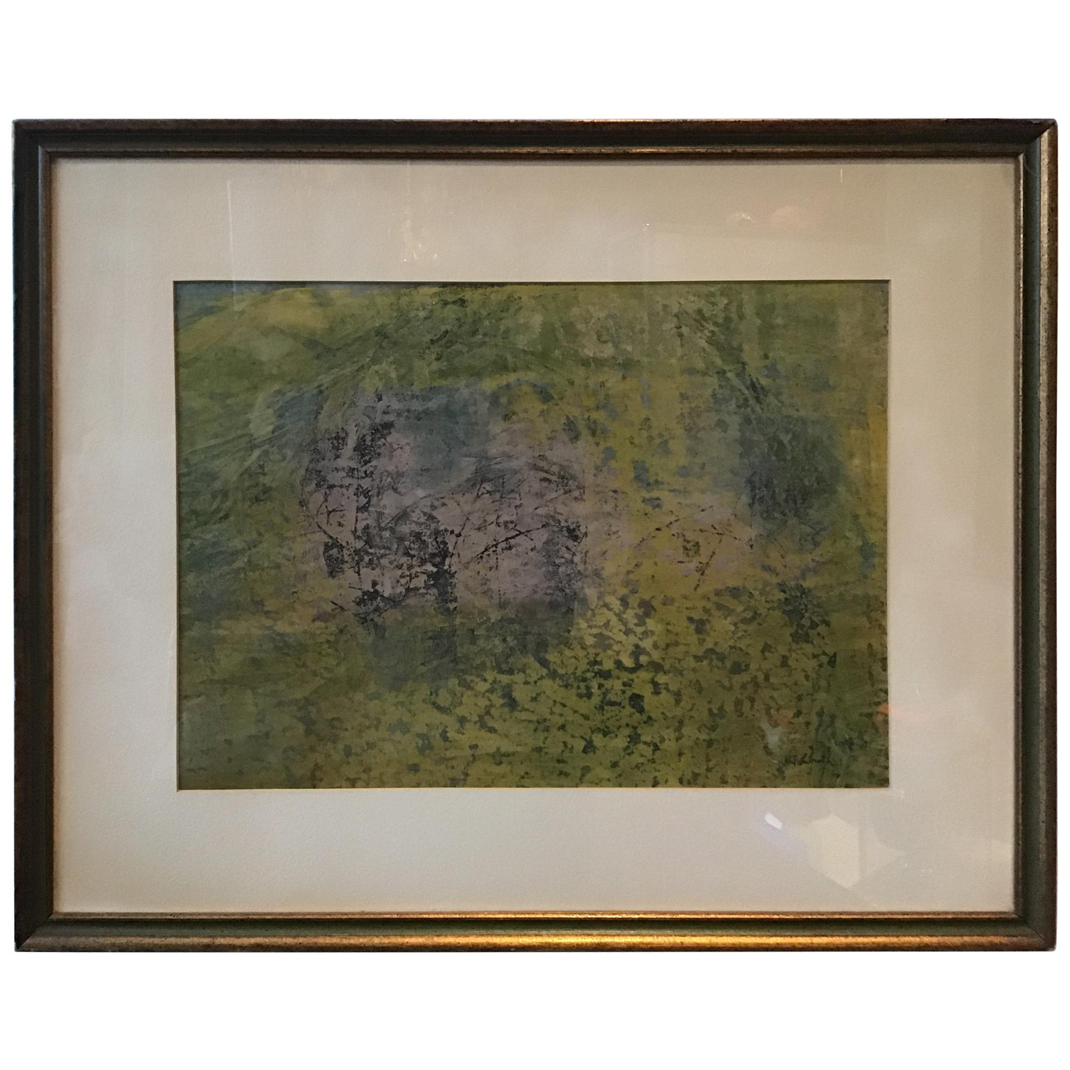 1960s Mil Lubroth Green Abstract Painting