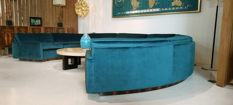 1970s Milo Baughman Circular Sofa for Thayer Coggin Fully Restored Teal Velvet  This highly coveted Thayer Coggin 3-piece sectional sofa is absolutely extraordinary. The sofa is comprised of three components that can be used individually or placed