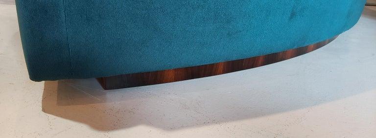 Velvet Three Section Circular Sofa by Milo Baughman for Thayer Coggin For Sale
