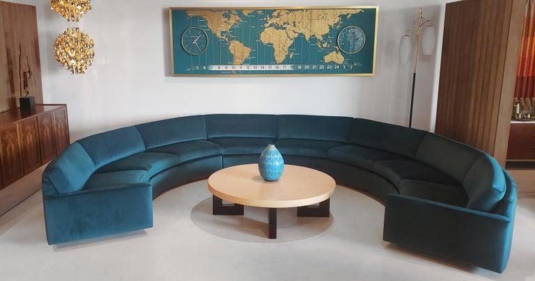 Three Section Circular Sofa by Milo Baughman for Thayer Coggin For Sale 1