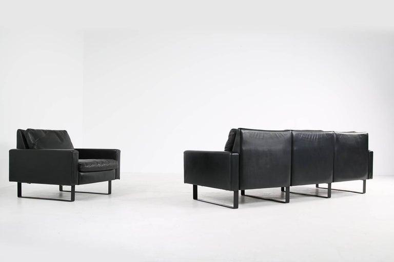 1960s Minimalist COR Conseta Modular System Leather Sofa F.W. Moller, Germany In Good Condition For Sale In Hamminkeln, DE