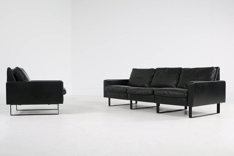 Mid-20th Century 1960s Minimalist COR Conseta Modular System Leather Sofa F.W. Moller, Germany For Sale