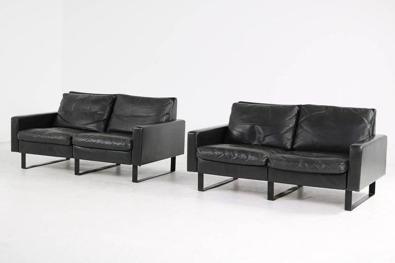 Metal 1960s Minimalist COR Conseta Modular System Leather Sofa F.W. Moller, Germany For Sale