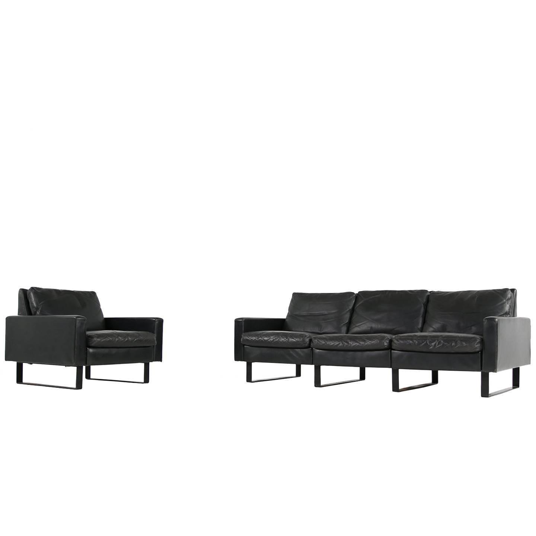 1960s Minimalist COR Conseta Modular System Leather Sofa F.W. Moller, Germany
