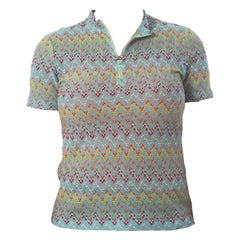 1960S MISSONI Style Baby Blue Rainbow Zig Zag Slub Knit Top