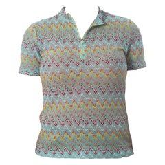 1960S MISSONI Style Baby Blue Rainbow Zig Zag Slub Knit Top