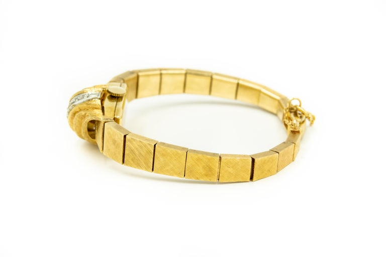 Single Cut 1960s Moba Diamond Florentine Finish Gold Covered Ladies Wristwatch Bracelet For Sale