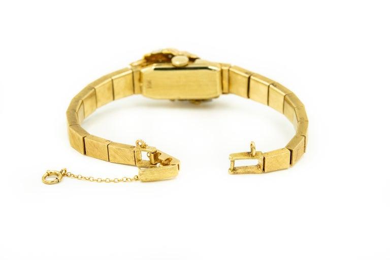 Women's 1960s Moba Diamond Florentine Finish Gold Covered Ladies Wristwatch Bracelet For Sale