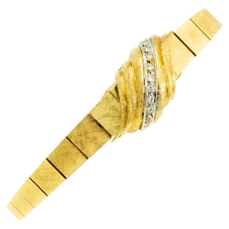 1960s Moba Diamond Florentine Finish Gold Covered Ladies Wristwatch Bracelet For Sale