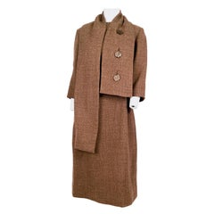1960s Mocha Brown Tweed Suit Set