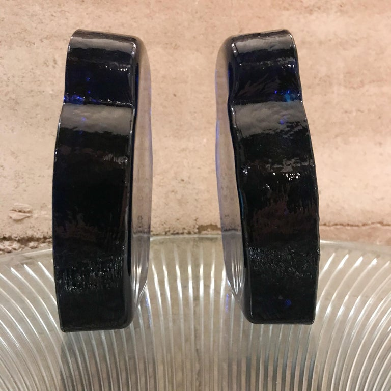 Mid-20th Century  Blenko Glass Owl Bookends Cobalt Blue Modern 1960s Joel Myers USA For Sale