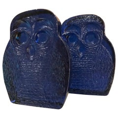 Blenko Glass Owl Bookends Cobalt Blue Modern 1960s Joel Myers USA