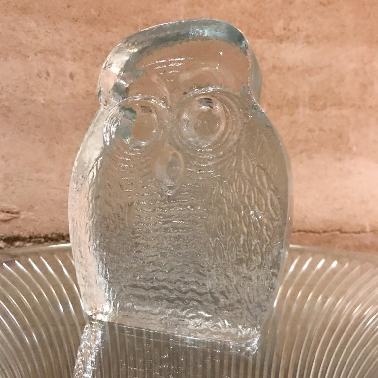 Mid-Century Modern 1960s Modern Blenko Glass Owl Bookends Joel Myers, USA For Sale