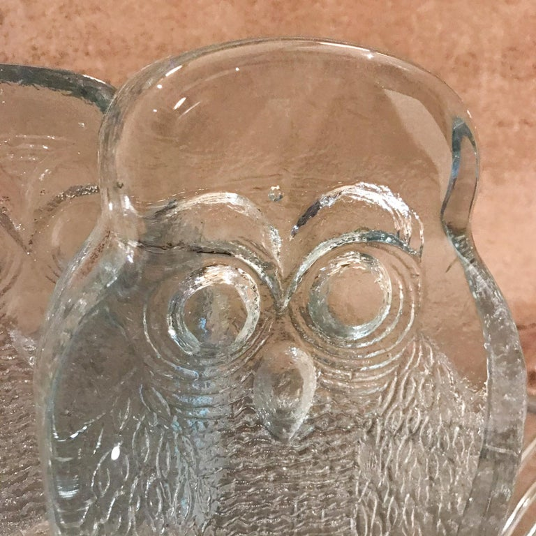 Blown Glass 1960s Modern Blenko Glass Owl Bookends Joel Myers, USA For Sale