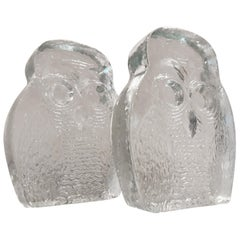 1960s Modern Blenko Glass Owl Bookends Joel Myers, USA
