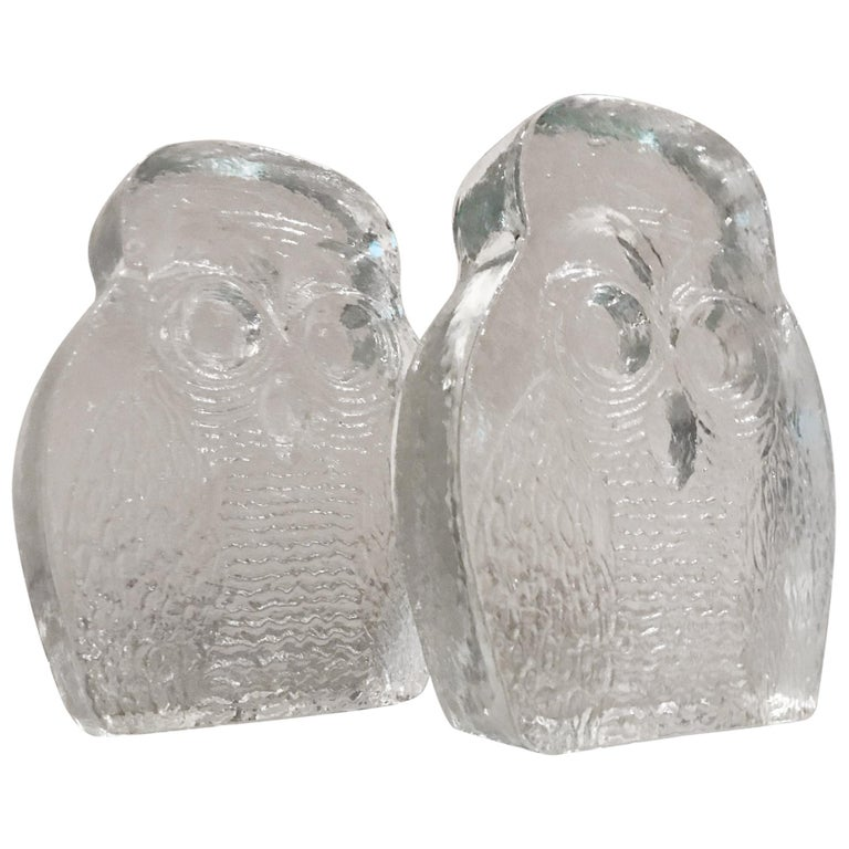 1960s Modern Blenko Glass Owl Bookends Joel Myers, USA For Sale
