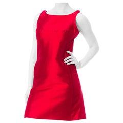 1960S Hot Pink Silk Radzimir Mod Mini  Dress With Pockets