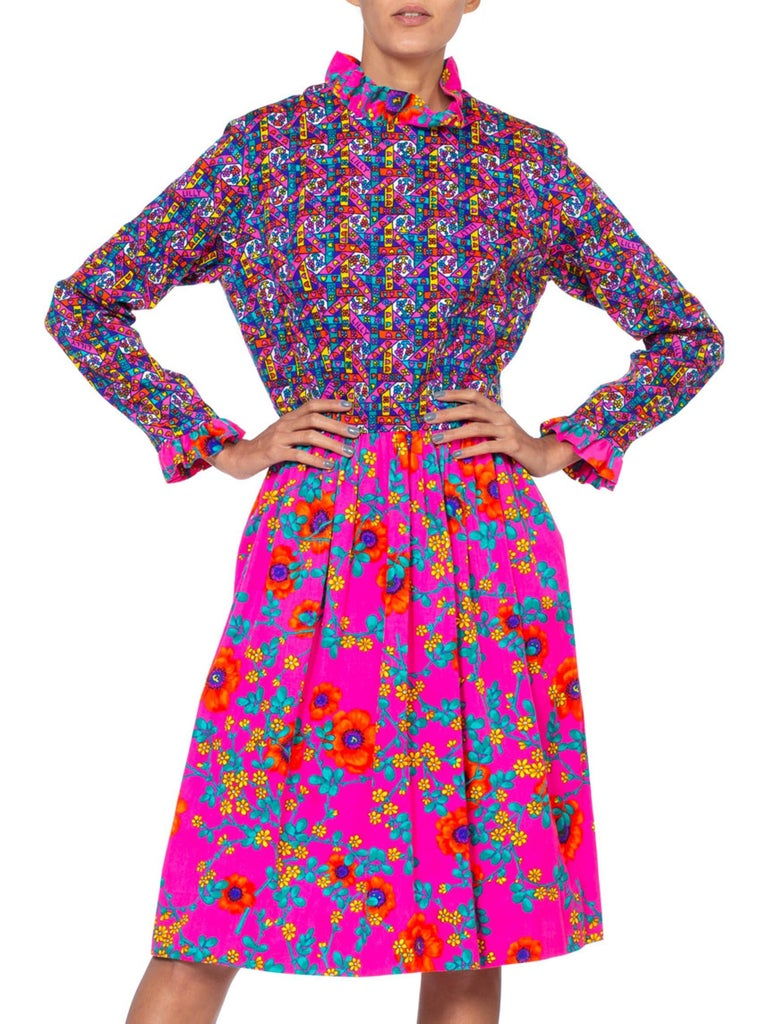 Women's 1960'S LILLY PULITZER Hot Pink Floral Cotton Long Sleeve Mod Dress With Ruffle  For Sale