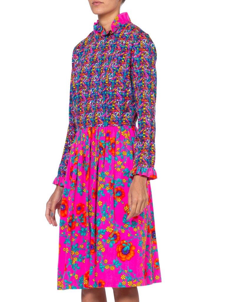 1960'S LILLY PULITZER Hot Pink Floral Cotton Long Sleeve Mod Dress With Ruffle  For Sale 1