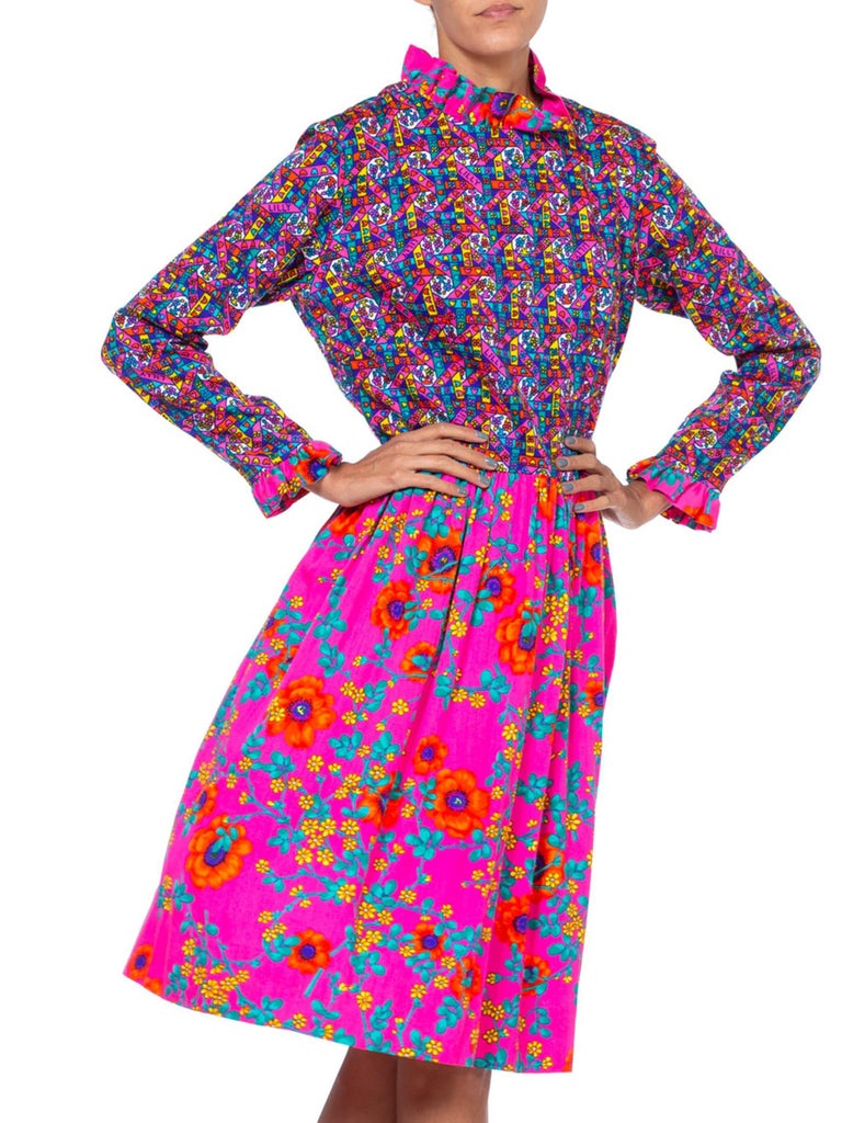 1960'S LILLY PULITZER Hot Pink Floral Cotton Long Sleeve Mod Dress With Ruffle  For Sale 2