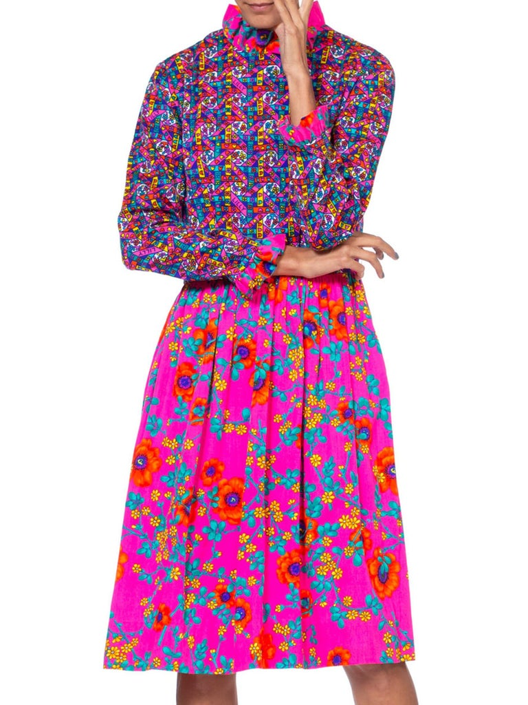 1960'S LILLY PULITZER Hot Pink Floral Cotton Long Sleeve Mod Dress With Ruffle  For Sale 3