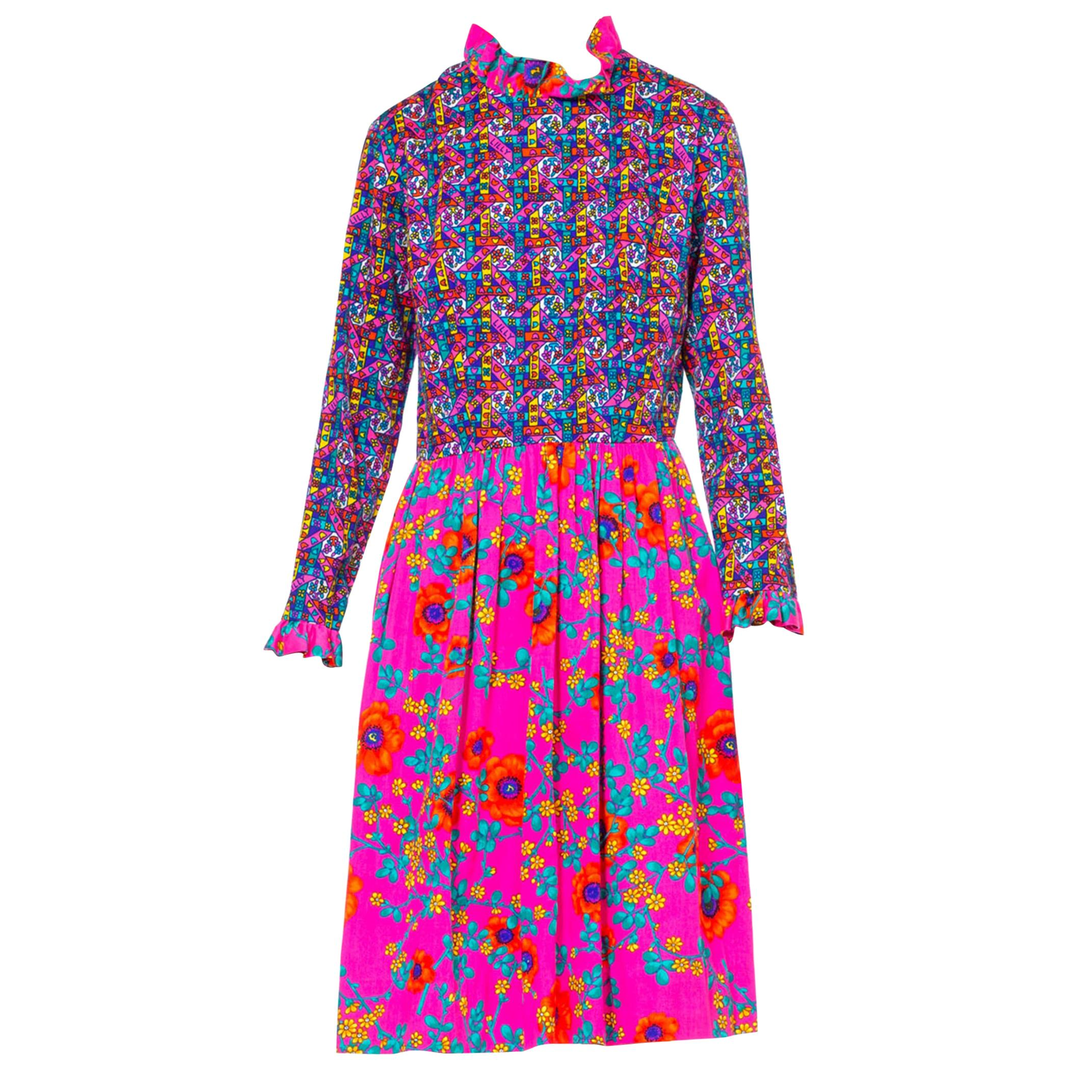1960'S LILLY PULITZER Hot Pink Floral Cotton Long Sleeve Mod Dress With Ruffle