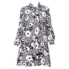 1960'S Mod Floral Rayon Bow Scarf Neck Dress