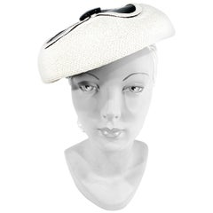 1960s Mod Straw and Patent Leather Hat