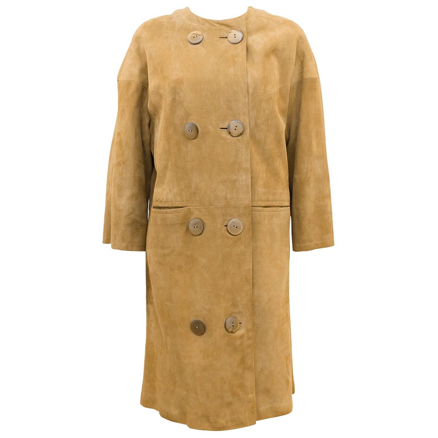 1960s Mod Swedish Designer Beige Kid Suede Coat