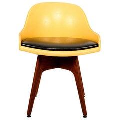 1960s Mod Swivel Chair Solid Walnut Wood Original Yellow & Black Naugahyde
