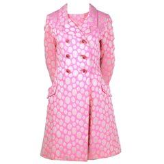1960s Mod Vintage Pink Polka Dot Sleeveless Dress & Coat Suit Crest Room