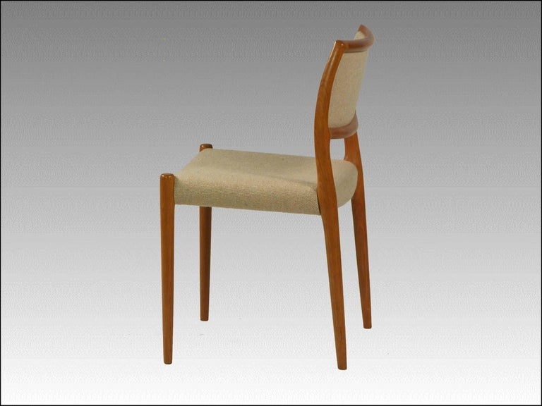 The model 80 dining chair was designed by Niels Otto Møller for JL. Møllers in the 1960s  The comfortable chairs are in good condition  If you wish to have the chairs reupholstered we are happy to make an offer and reupholster them with fabric
