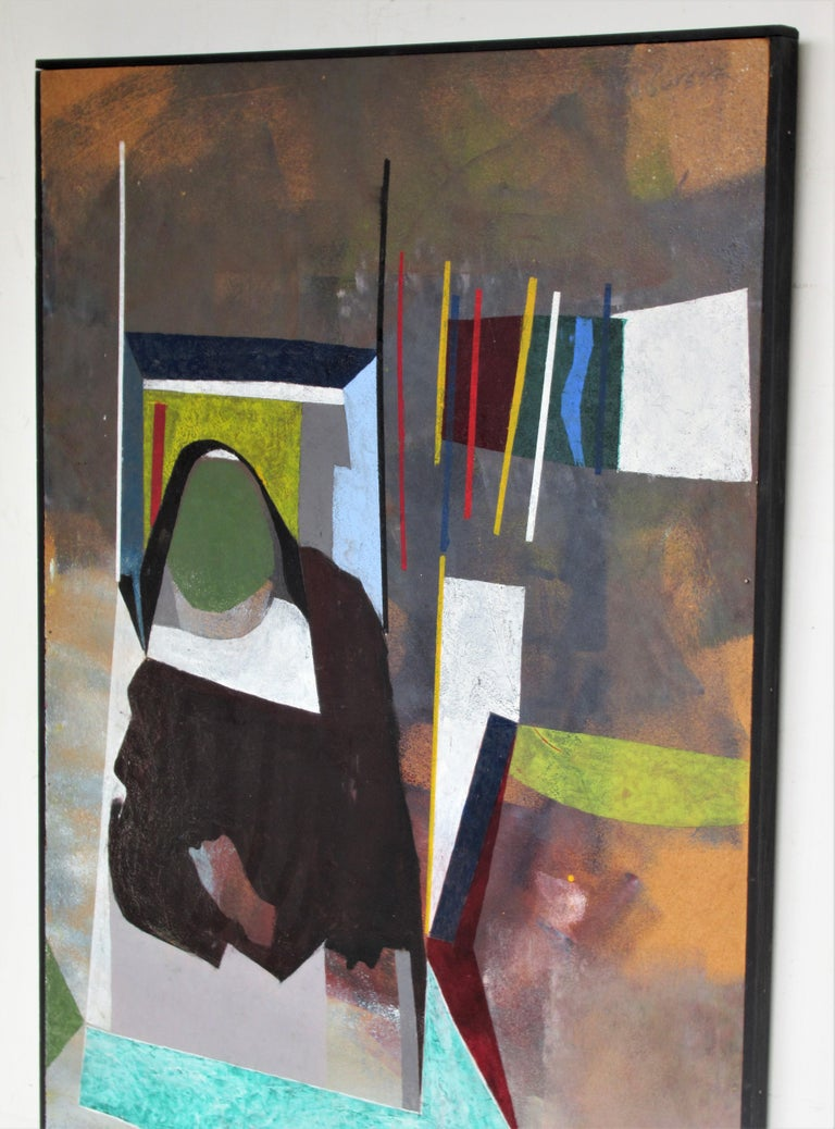 Masonite 1960s Modern Abstract Painting by John Anderson For Sale