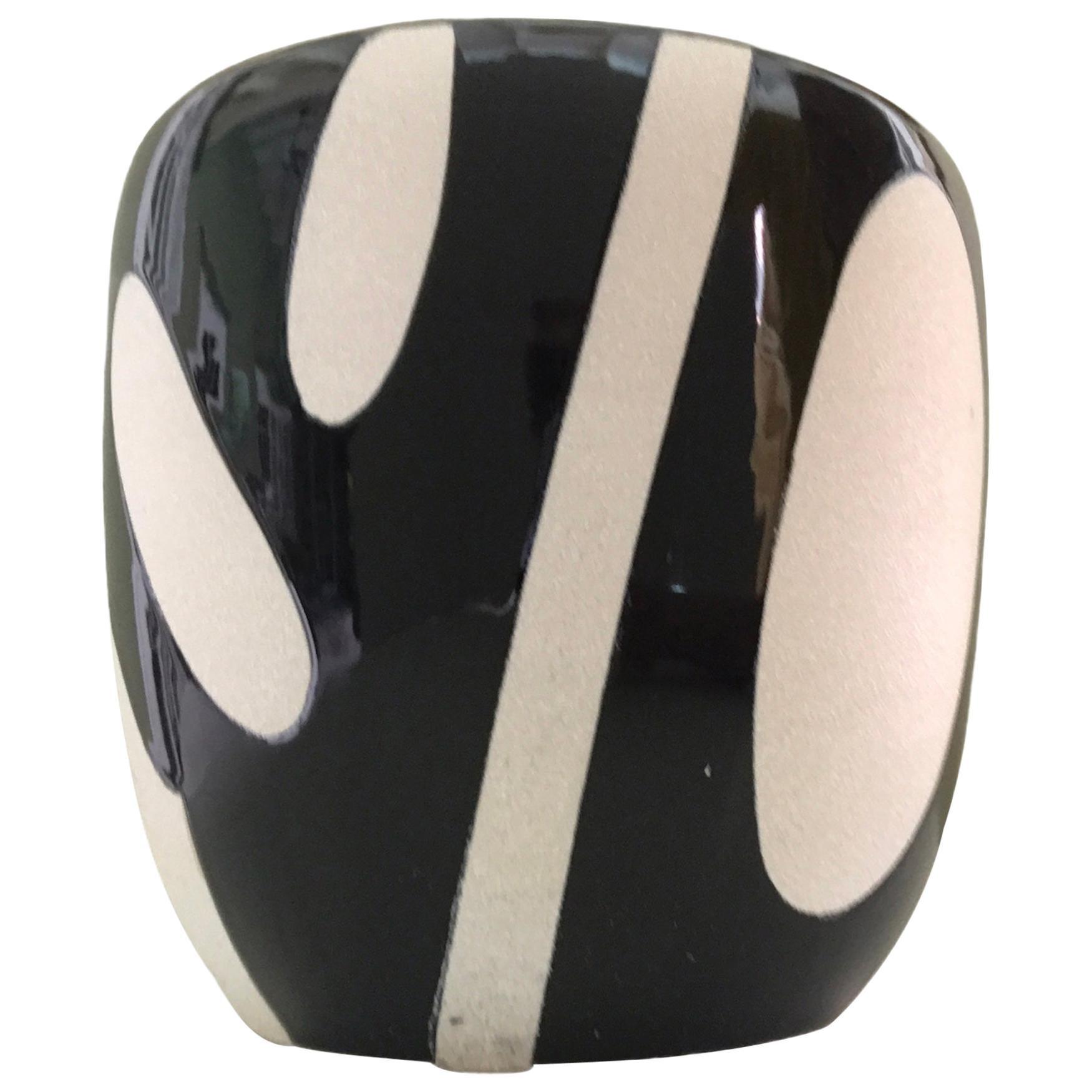 1960s Modern Black and White Ceramic Hibachi, Japan