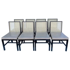 1960s Modern Caned Michael Taylor for Baker Furniture Side Chairs, Set of 8