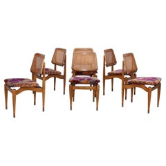 1960's Modern Dining Chairs with Jack Lenor Larsen Fabric
