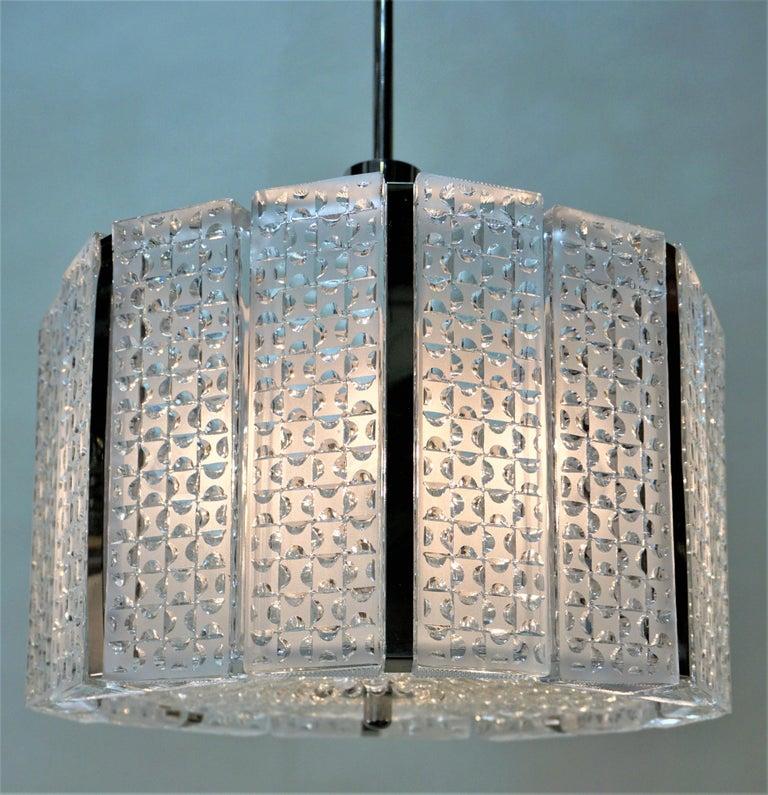 German 1960s Modern Glass Chandelier by Kaiser Leuchten For Sale