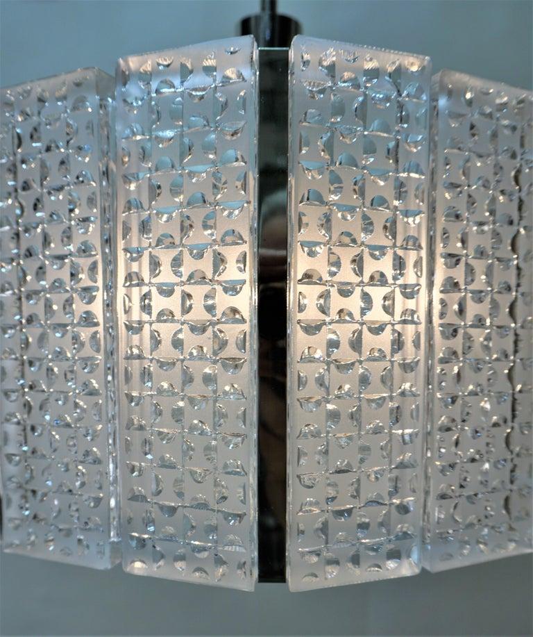 Mid-20th Century 1960s Modern Glass Chandelier by Kaiser Leuchten For Sale