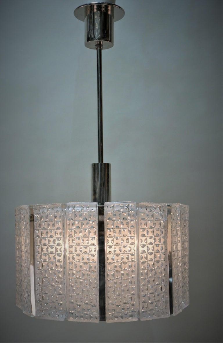 1960s Modern Glass Chandelier by Kaiser Leuchten For Sale 3