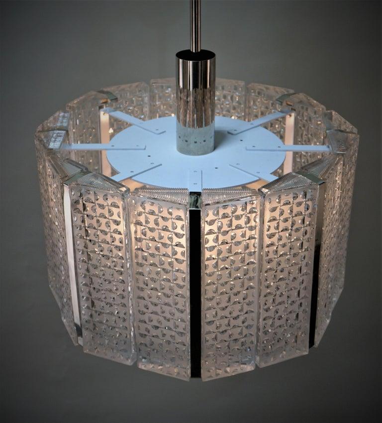 1960s Modern Glass Chandelier by Kaiser Leuchten For Sale 4