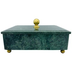 1960s Modern Italian Marble and Brass Footed Box