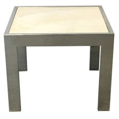 1960s Modern Milo Baughman Style Chrome and Stone Side Table