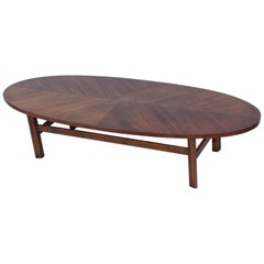 1960s Modern Surfboard Walnut Coffee Table