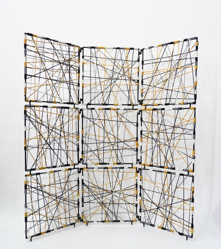 1960s modern vinyl cord room divider. This 3 paneled room divider is made of durable vinyl cord and a steel frame.  Cord colors: Black, yellow, silver and white  Ships from Los Angeles.