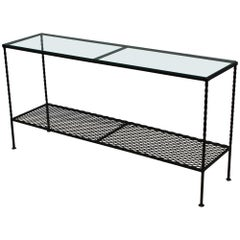 1960s Modern Wrought Iron Custom Made Two-Tier Console